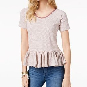 Lucky Brand | Cotton Strip Peplum Hem T-shirt